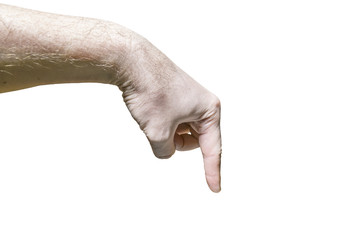Men's hand with the pointing hand  on white background