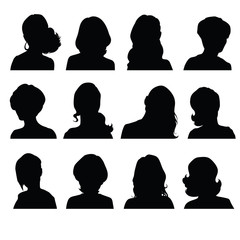Set of silhouettes of female heads