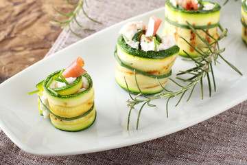 Stuffed zucchini rolled with cream cheese