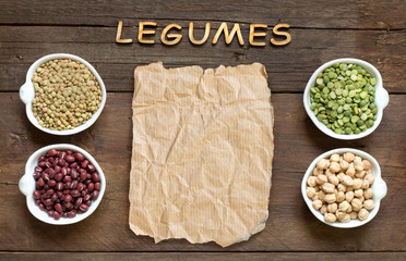 Variety or legumes, the word of Legumes and paper