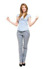 Full length happy woman