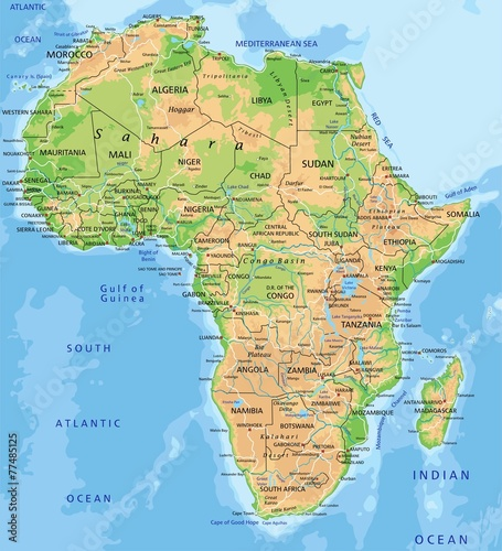 High detailed Africa physical map with labeling. | Buy Photos | AP ...