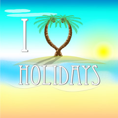 Illustration of holidays on beach with love palm trees and sun