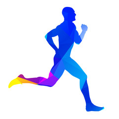 Abstract colorful runner silhouette
