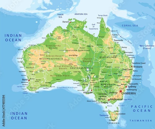 Fototapeta High detailed Australia physical map with labeling.