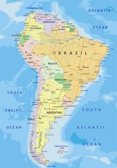 South America - Highly detailed editable political map.