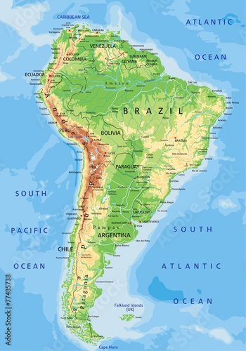 Fototapeta High detailed South America physical map with labeling.