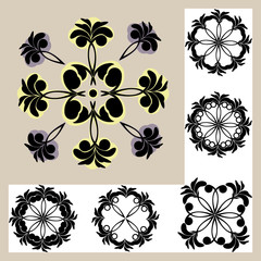 set of templates with ornament