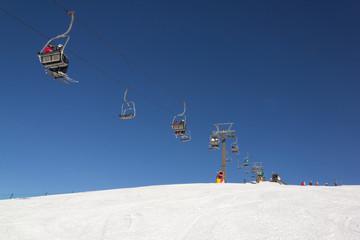 Skiers in Val Gardena Ski resort