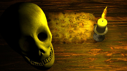 Pirate Map under Candle Light with Human Skull