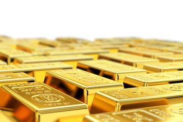 Gold bars with shallow depth of field