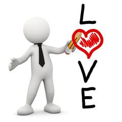 omino bianco con scritta LOVE