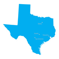 blue map of Texas with indication of biggest cities