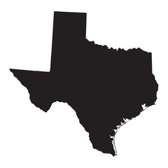 black map of Texas