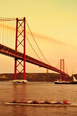 25 de Abril Bridge in Lisbon, Portugal, with a filter effect