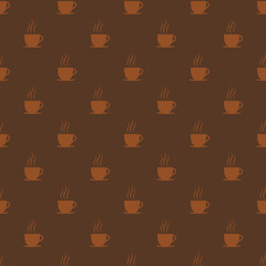 Coffee cups. Seamless pattern background, vector illustration.