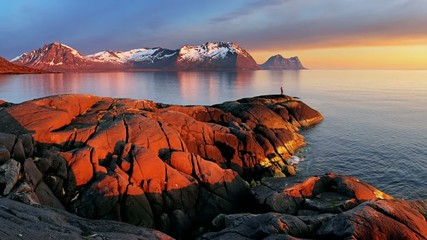 Ocean mountain panorama sunset - Norway