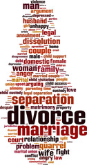 Divorce word cloud concept. Vector illustration
