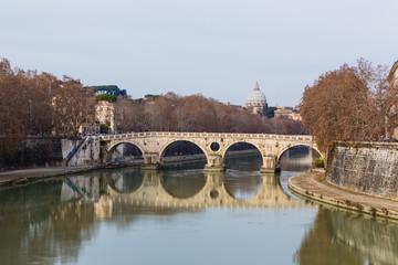 bridge over Tiber river in Rome, Italy