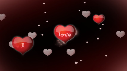 Red hearts with inscription I love you animation for Valentine's day