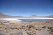 Atacama Desert stone landscape and lagoon in Uyuni