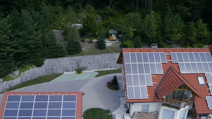 Shot from heli of solar power station on roof