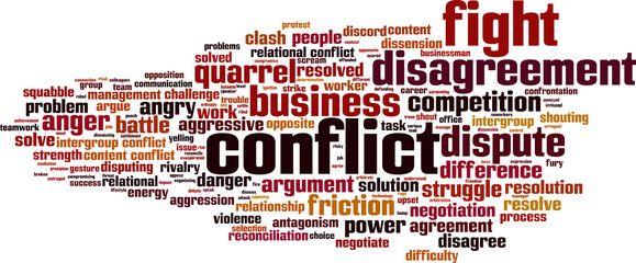 Conflict word cloud concept. Vector illustration