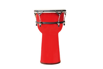 Image of red ethnic african drum under the white background