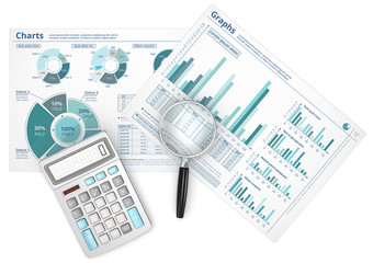 Business data infographics with magnifying glass and calculator.