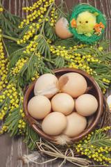 Easter eggs. Chicken eggs prepared for Easter dying
