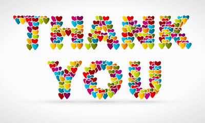 Thank you made from colorful icon hearts