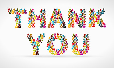 Thank you made from colorful people silhouettes