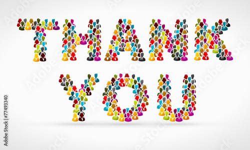 Thank you made from colorful people silhouettes - 77493340