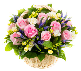 Natural pink roses in a basket
