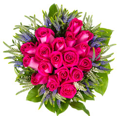Top view of bouquet of red roses