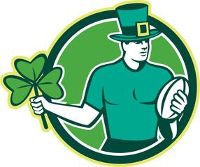 Irish Rugby Player Holding Shamrock