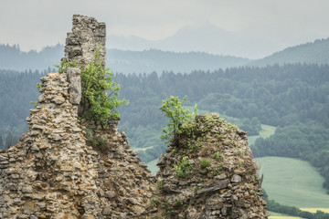 Ruins of ancient medieval fortress in Slovakia