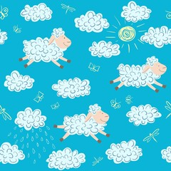 Vector seamless pattern with sheep and clouds