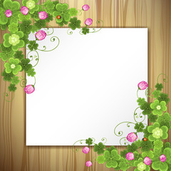 Wood background with clover