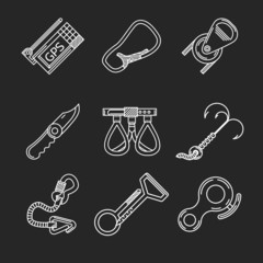 Flat line icons for rock climbing