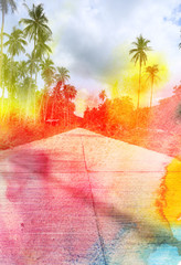 watercolor retro palm trees on the road