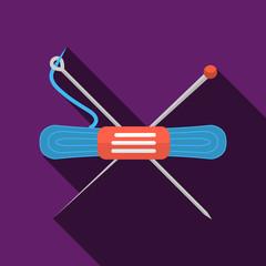 Blue yarn flat vector icon