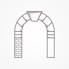 Round arch flat line vector icon