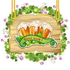 Wood banner with clover and beer