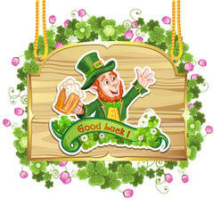 Happy Leprechaun Drinking Beer-St. Patrick's Day