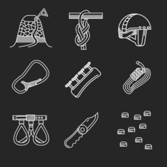 White line vector icons for alpinism