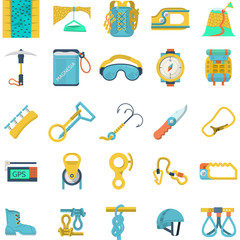 Colored icons vector collection for rock climbing