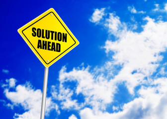 Solution ahead message on road sign