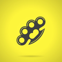 Black brass knuckles flat vector icon