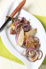 Pan fried pork with vegetables